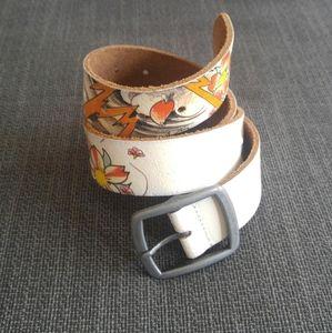 White Leather Patterned Belt